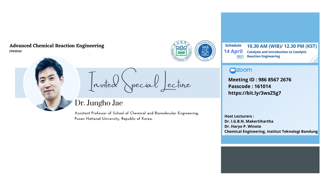 Advanced Chemical Reaction Engineering, Invited Special Lecturer Dr. Jungho Jae