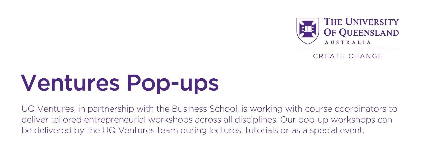 Student Entrepreneurship Workshops The University of Queensland, Australia